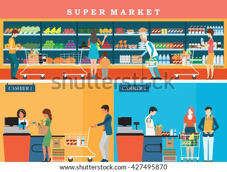 People in supermarket grocery store with shopping baskets. Isolated vector illustration. - stock vector