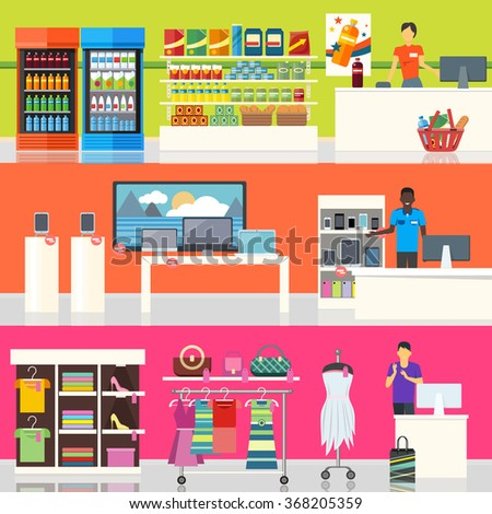 People Supermarket Interior Design People Shopping Stock Vector