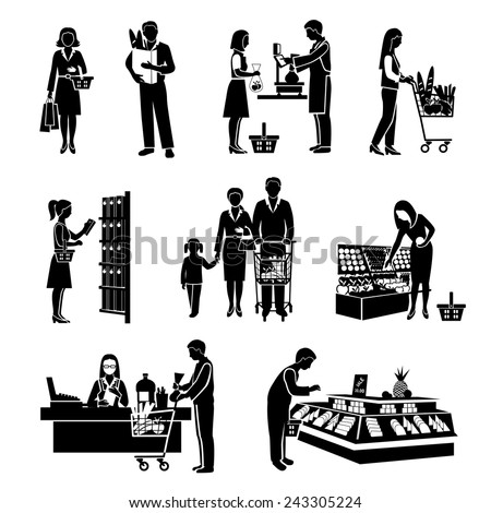 People in supermarket men and women consumers black icons set isolated vector illustration - stock vector