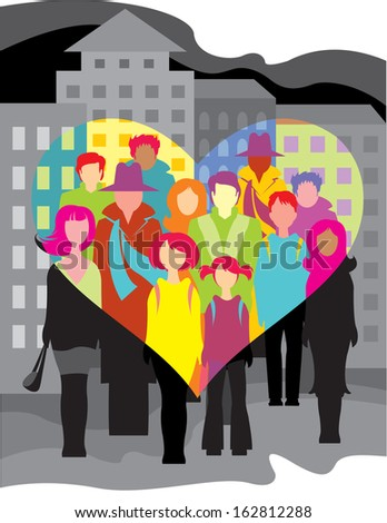 people in the city, seen by love eyes - stock vector