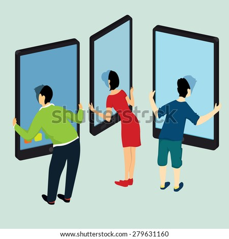 People in the phone. Technology in life. Vector illustration