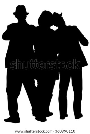 People in theatrical costumes on a white background - stock vector