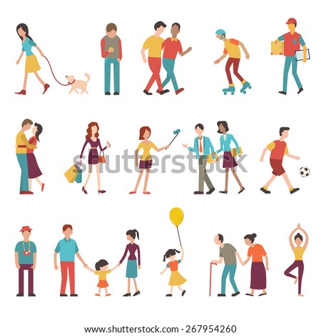 People in various lifestyles, businesspeople, woman walking to the dog, teenager, hipster, friends, woman doing yoga, homosexual, couple, lovers, family. Character set with flat design style. - stock vector