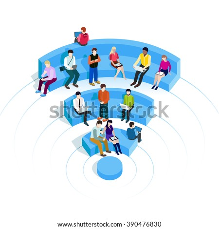 People in wi-fi zone.  - stock vector