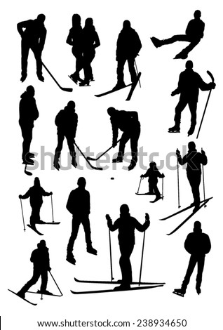 People in winter sports silhouettes set - stock vector