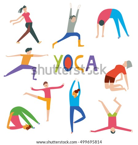 People in yoga poses set, funny design, vector graphic illustration