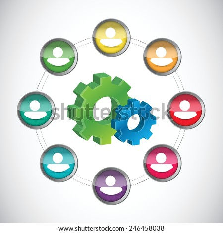 people industrial network concept illustration design over a white background - stock vector
