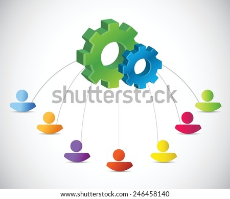 people industrial network concept illustration design over a white background