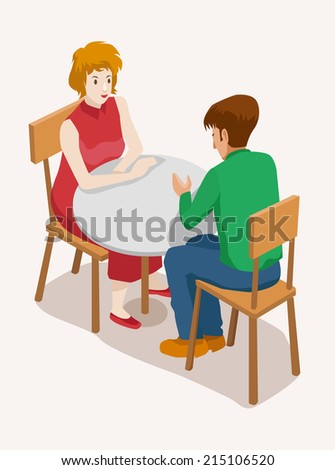 people isometric vector illustration. happy young woman at a date with her boyfriend - stock vector