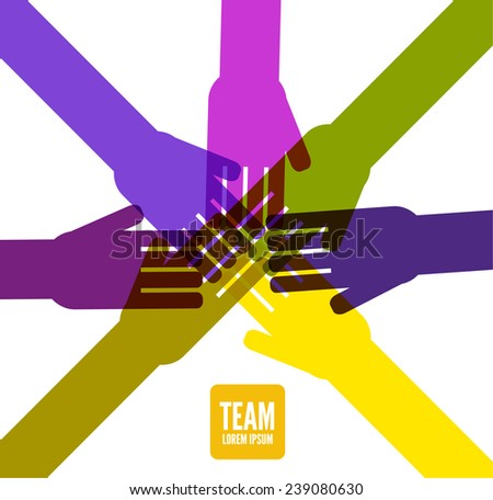 People joining hands.Team work concept. flat design. vector illustration - stock vector