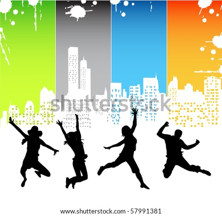 People jumping - stock vector
