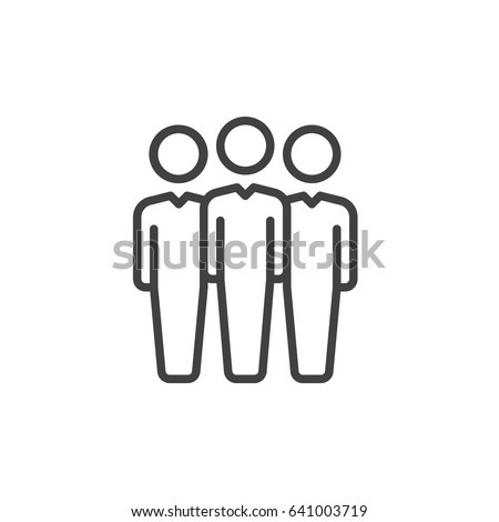 People Line Icon, Outline Vector Sign, Linear Style Pictogram Isolated On  White. Team  Line Leader