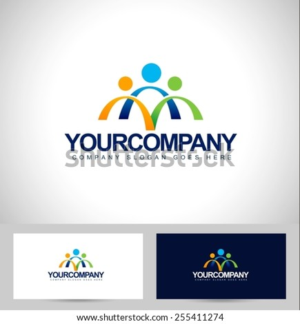 People Logo Design. Unity Logo design concept with business card template.