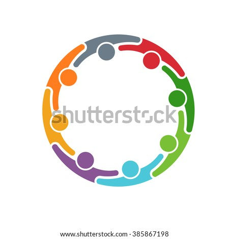 People logo. Group of eight persons in circle. Vector graphic design - stock vector