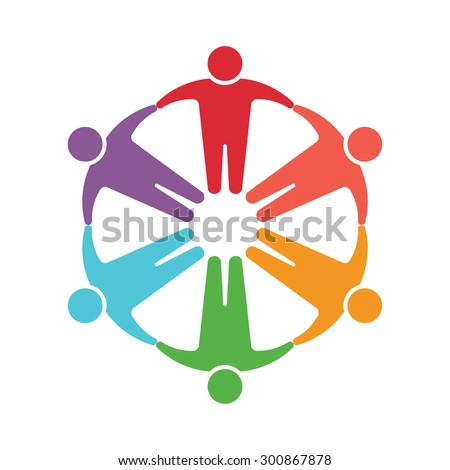 People logo. Group of six persons  - stock vector