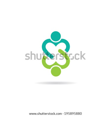 People logo love image. Concept of compromise, partnership, union.Vector icon - stock vector