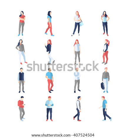 People, male, female, in different casual common poses - modern vector flat design isolated icons set. Standing, walking, watching, smartphone, arms, across, akimbo, with a bag - stock vector
