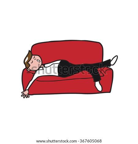 People man sleeping on sofa - stock vector