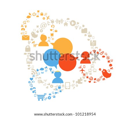 People media connections abstract scheme - stock vector