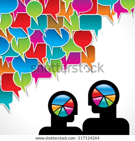 people meet and talk with wheel graphics - stock vector