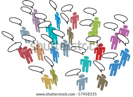 People meeting in a Social Media Network discuss in communication Speech Bubbles - stock vector