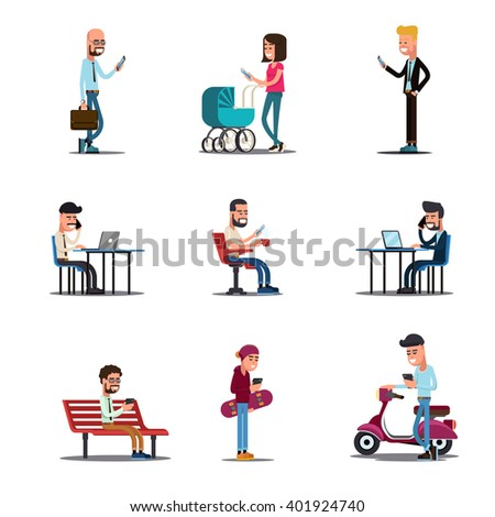 People mobile phones concept. Modern mobile lifestyle vector illustration. People with smartphone, young man in social media - stock vector