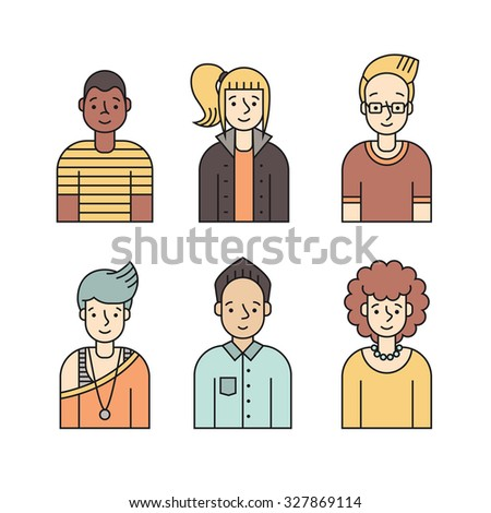 People multicolored icons vector set (men and women). Modern minimalistic design. Part two.  - stock vector