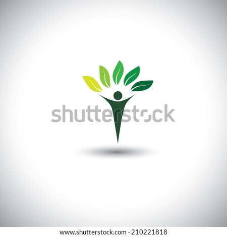 people & nature balance - eco lifestyle concept vector icon. This graphic also represents harmony, nature conservation, sustainable development, natural balance, development, healthy growth - stock vector