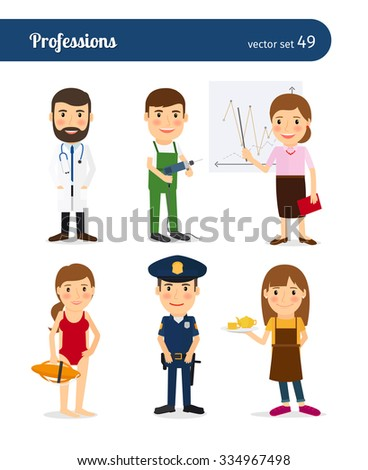 People occupation characters. Policeman and lifeguard, waitress and repairman - stock vector