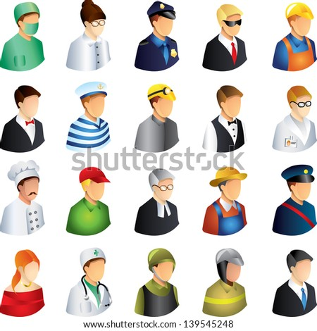 people occupations icons detailed vector set - stock vector