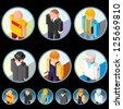 People Occupations Icons. Isometric Vector Design Clip Art - stock vector