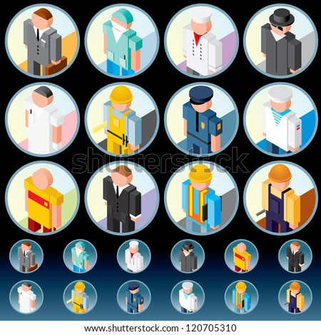 People Occupations. Icons of Lawyer, Medic, Chef, Worker, Officer, Athlete, Salesman etc. - stock vector