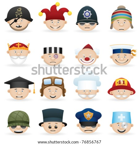 People occupations icons set - stock vector