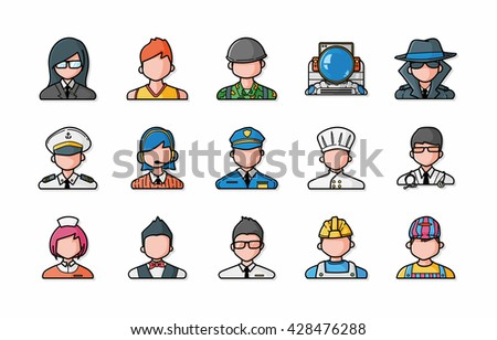 People occupations icons set,eps10 - stock vector