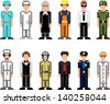 people occupations pixel art icons vector set - stock