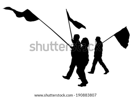 People of anarchia with large flags