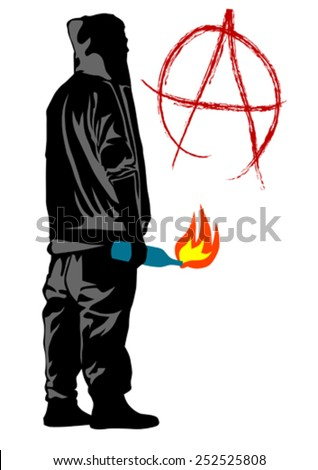 People of anarchia with molotov cocktail on white bacground - stock vector