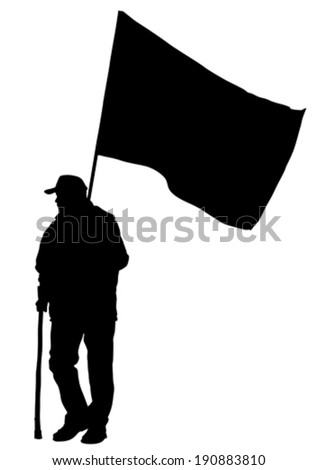 People of anarchy with large flags - stock vector
