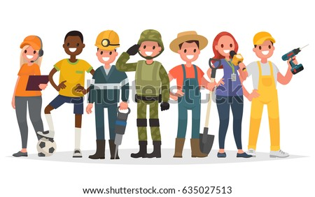 People of different professions. Military, journalist, miner, farmer and others. Vector illustration in a flat style