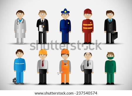 People Of Different Professions Set -Isolated On Gray Background - Vector Illustration, Graphic Design, Editable For Your Design  - stock vector