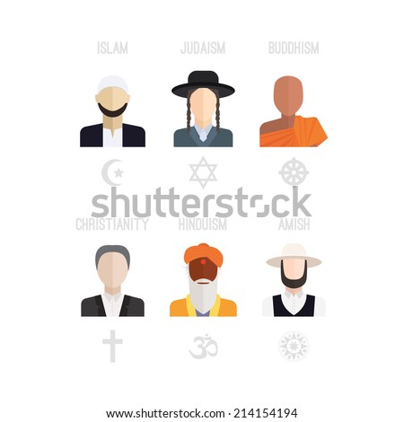 People of different religion in traditional clothing. Islam, judaism, buddhism, christianity, hinduism, amish. Religion vector symbols and characters. - stock vector