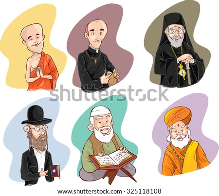 People of different religion in traditional clothing. Islam, judaism, buddhism, orthodox, catholic, hinduism illustration - stock vector
