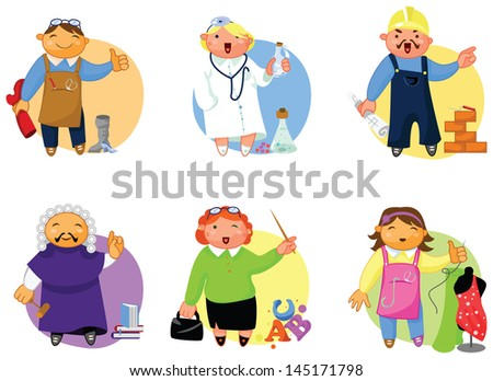 People of various professions set. Colorful, cheerful illustrations. - stock vector