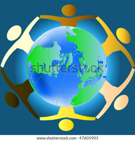 People of various races holding hands across the globe - concept for racial harmony, world peace etc - stock vector