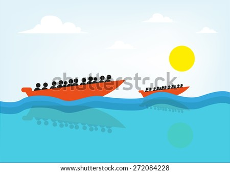People on a Speed Boat or Rescue Raft. Concept for lifeguard, navy patrol, or illegal migrants sailing to destinations like in Mediterranean or Italy's Coasts. - stock vector