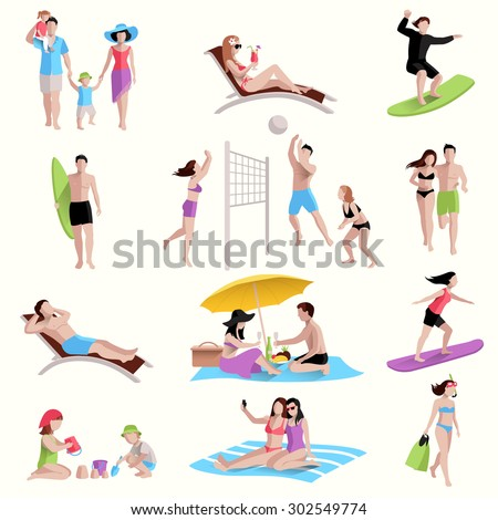 People on beach playing jogging surfing icons set isolated vector illustration