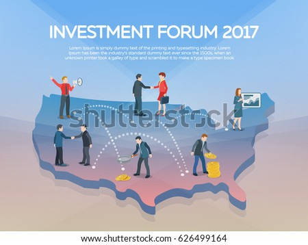 People On The 3d Usa Map Business Startup Work Moments Flat Banner New Ideas