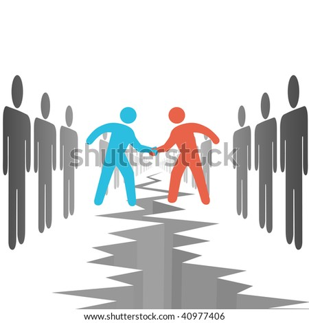 People on two opposition sides make a deal agreement settle differences over a chasm crack. - stock vector