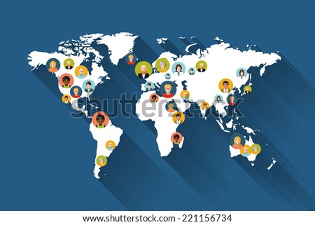 People on world map flat illustration - stock vector