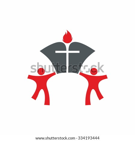 People, open bible, cross and flame - stock vector